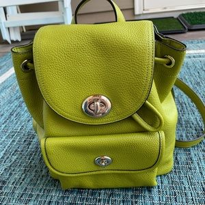 100% authentic Coach mini back pack green